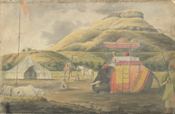 f.1   Chandor Fort, near Nasik; an elephant and tent in the foreground.  'Chandore fort with a Mharatte chieftain's elephant ready to be mounted and attended as usual.'